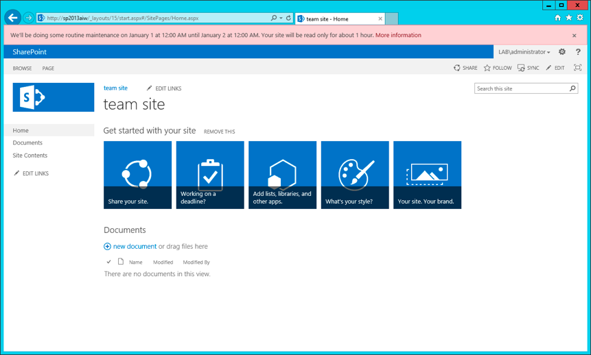 Sharepoint 2013 Maintenance Window Banner ScreenShot