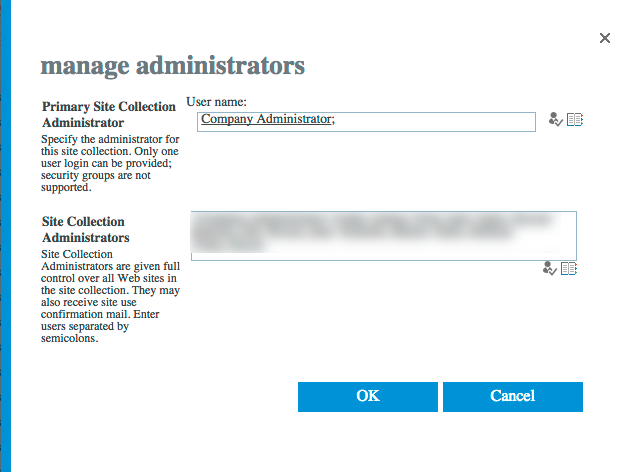 Add a person as a site collection administrator to every